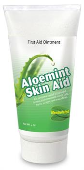 Aloemint Skin Aid� Natural Skin Cream eases scrapes, abrasions, and minor lesions.